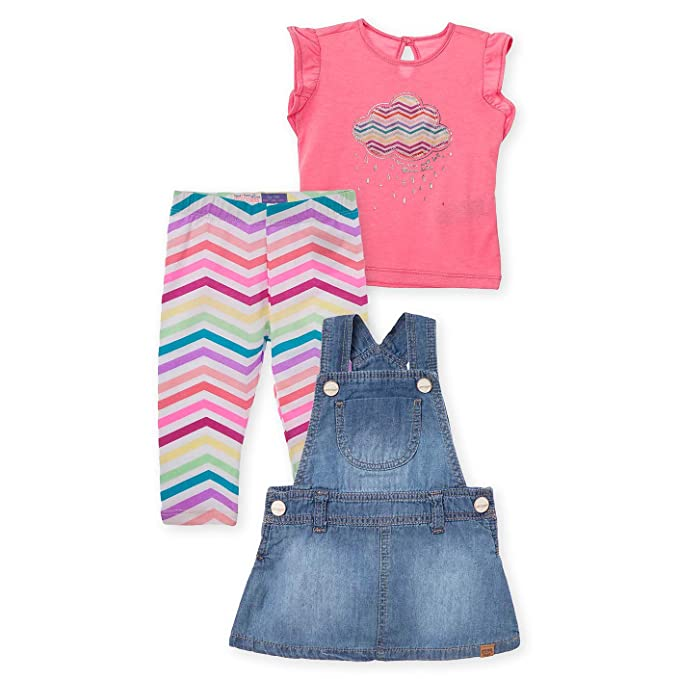OFFCORSS Baby Girl Overall Dress Skirtall 3 Piece Outfit Set + Leggings T Shirt