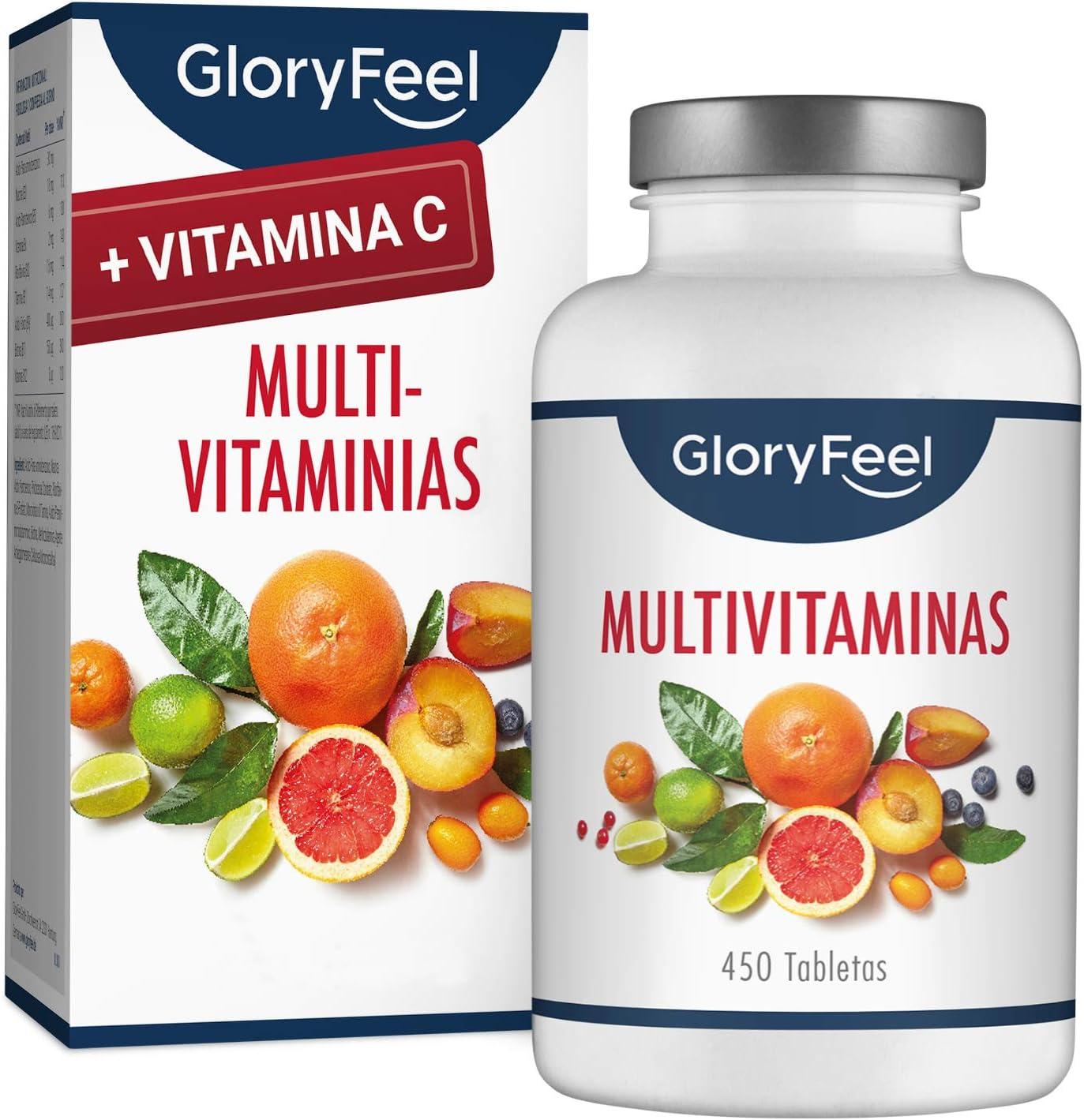 Multivitaminas y Minerales - Con Vitamina C para su sistema inmunológico - 450 Comprimidos Multivitamínicos Veganos - (Suministro por más de 1 año) Vitaminas y Minerales para Hombres y Mujeres