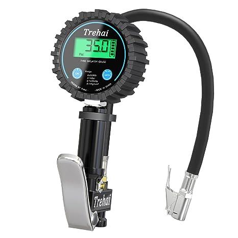 Trehai Manómetro Digital Medidor de Presión de Neumáticos - 200PSI Medidor de Presión de Neumáticos de