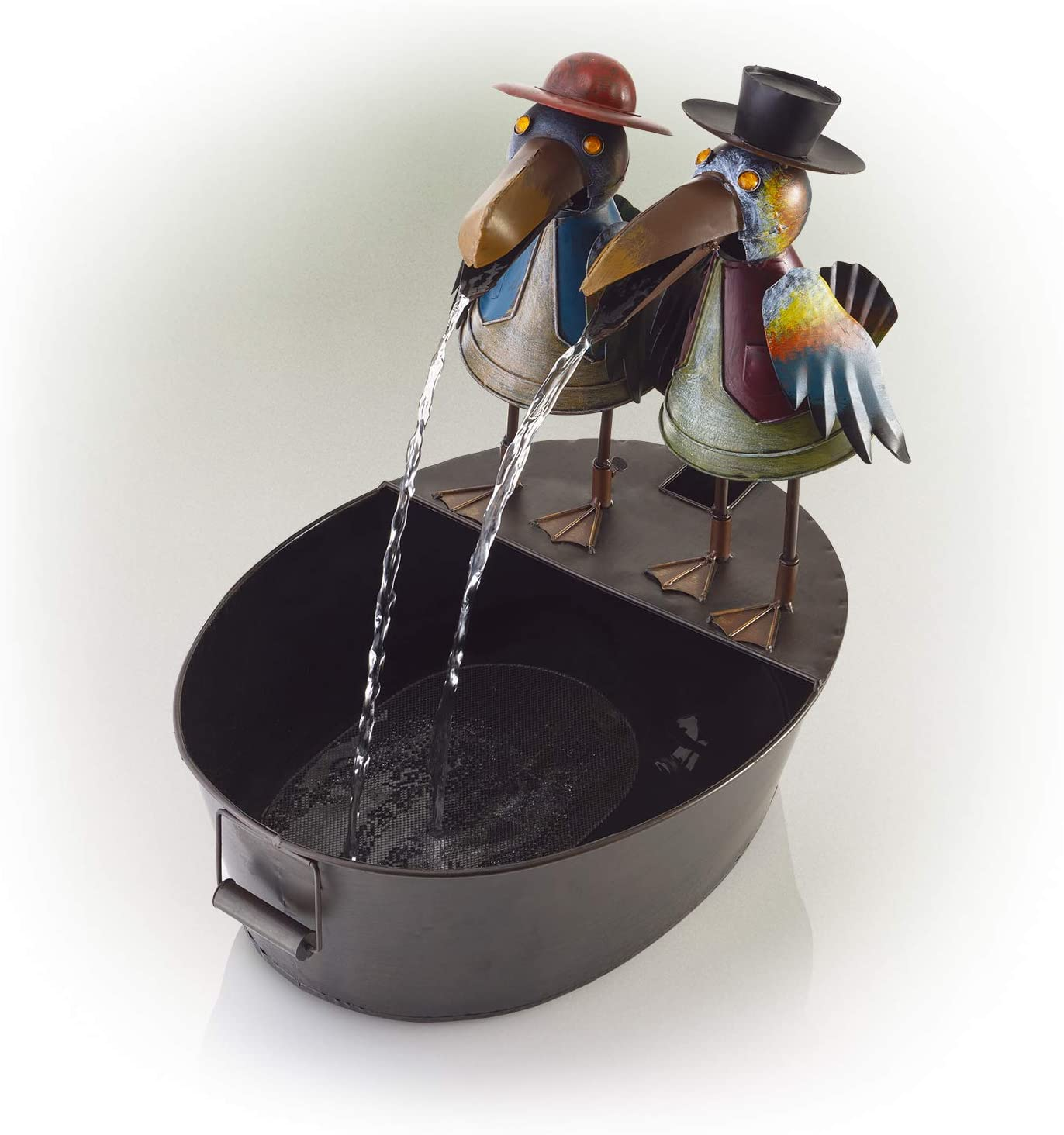 "Alpine Corporation 20"" Tall Outdoor Metal Crow Water Fountain Yard Art Decor"