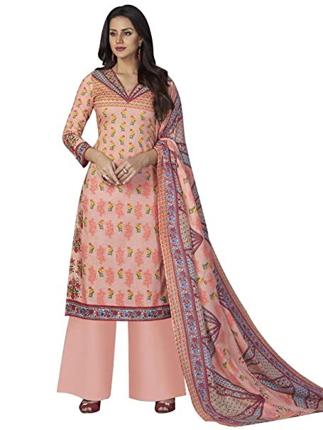 c0fed366ac Rose Petals Women's Cotton Unstitched Digital Printed Salwar Suit Material  with Dupatta (AFF7005, Peach Pink, Free Size): Amazon.in: Clothing &  Accessories
