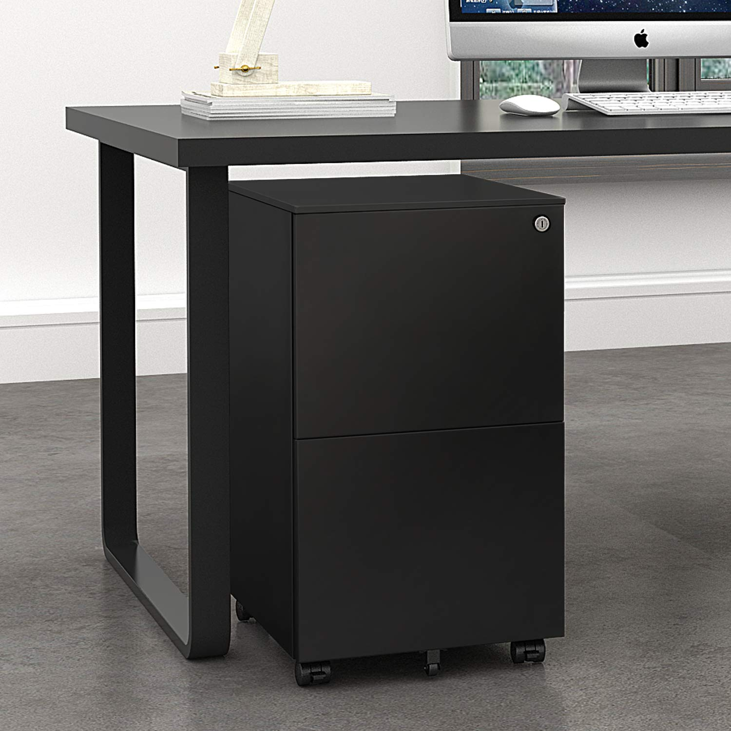 DEVAISE Locking File Cabinet, 2 Drawer Rolling Metal Filing Cabinet, Fully Assembled Except Wheels, Black by DEVAISE (Image #2)