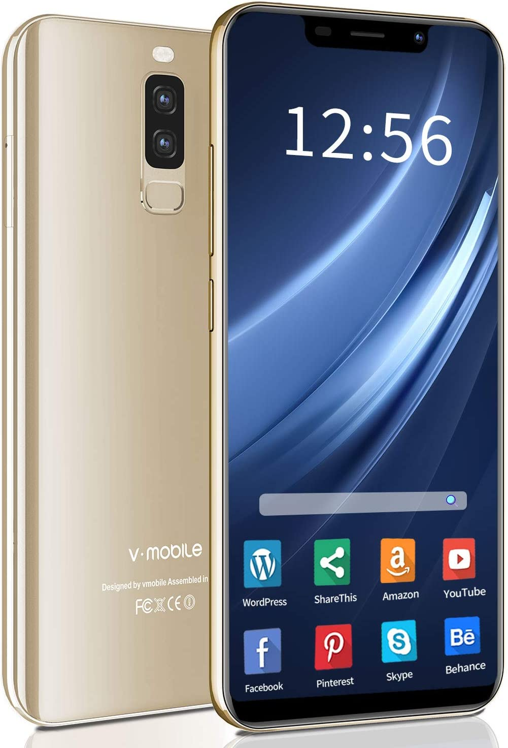 """Unlocked Cell Phones, 4G Unlocked Smartphone, 5.85"""" Waterdrop Full-Screen Phones, with 32GB Android 8.1 OS, 4200mAh, Dual SIM +Micro-SD Slot, Face Unlock, US Version (Gold)"""