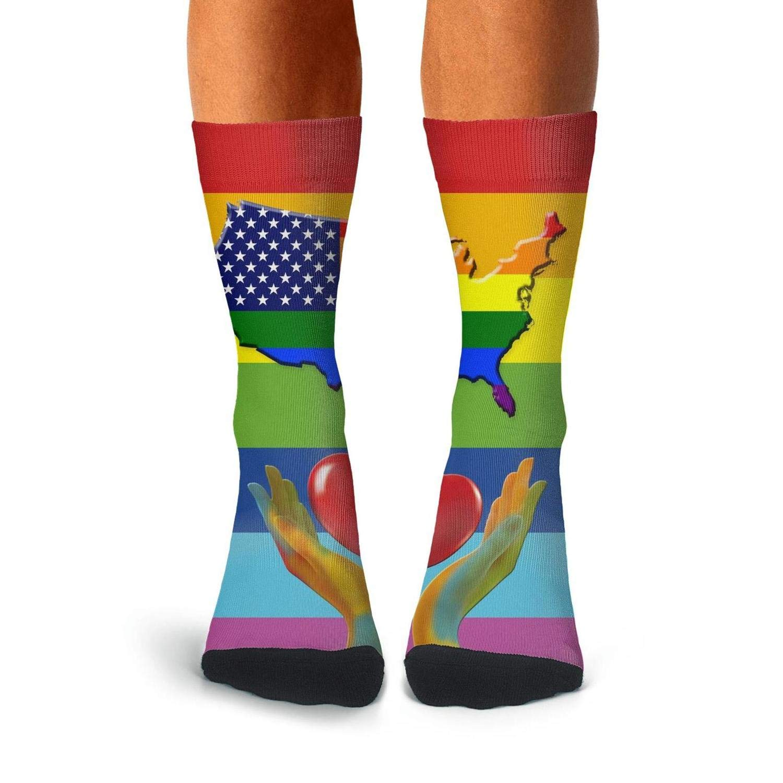 KCOSSH Gay Pride LGBT Love Is Love Mens Socks Crew Novelty Over The Calf Socks For Men Pattern Compression Stockings Men