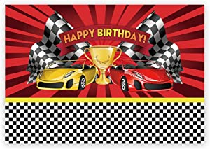 Funnytree 7x5ft Racing Car Themed Birthday Backdrop Champion Flag Black White Grid Red Photo Backgrounds for Boy Party Decorations Photo Booth Cake Table Banner