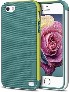 EXSEK iPhone 5/5S SE Case, Hybrid Ultra Slim 3 Color Case Shockproof [Anti-Slip] [Extra Front Raised Lip] Scratch Resistant Soft Gel Bumper Rugged Case for iPhone 5/5S (Green)