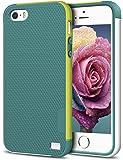 iPhone 5/5S SE Case, EXSEK Hybrid Ultra Slim 3 Color Case Shockproof [Anti-Slip] [Extra Front Raised Lip] Scratch Resistant Soft Gel Bumper Rugged Case for iPhone 5/5S (Green)