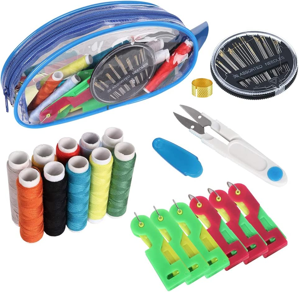 Automatic Needle Threading Device 6 PCS, DIY Travel Sewing Kits Sewing Supplies Organizer,Included a Clear Zipper Bag