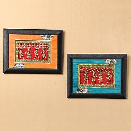 Buy ExclusiveLane Sunset Orange & Ocean Blue Handpainted Warli ...