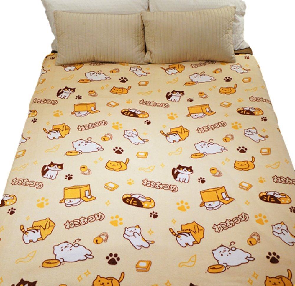 GK-O Neko Atsume Blanket Cute Kitty Cats Pattern Coral Fleece Warm Soft Lap Robe L (200 x 150cm / 78 x 59'')
