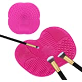 Makeup Brush Cleaner Mat, TASIPA Make Up Cleaning Mat, Silicone Brush Cleaner Pad with Suction Cups ( Set of 2)