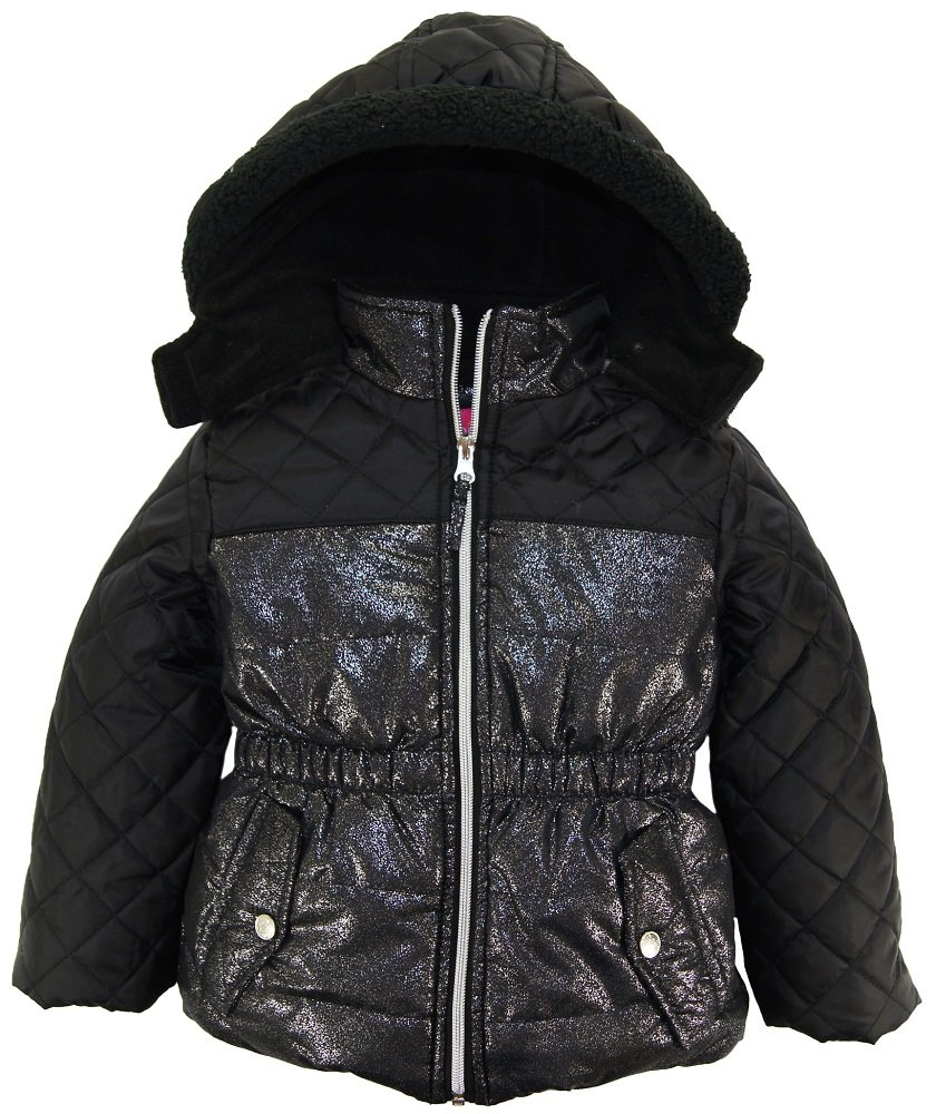 Pink Platinum Little Girls' Quilted Puffer Jacket Mixed with Spray Foil, Black, 6X