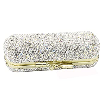 Amazon Com Bestbling Bling Rhinestone Crystal Lipstick Case Holder Organizer Bag Cosmetic Storage For Women S Lipstick Jewelry Kit Silver