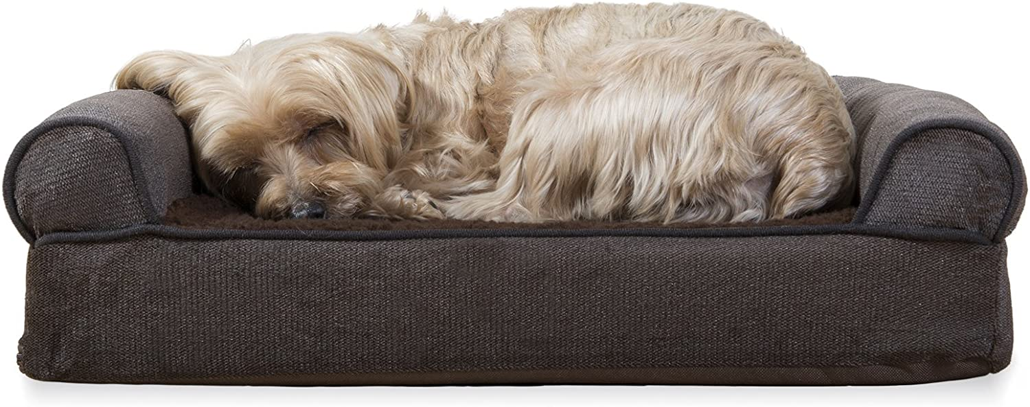 Furhaven Pet - Plush Orthopedic Sofa, Ergonomic Contour Mattress, Self-Warming Hi Lo Cuddler, Calming Anti-Anxiety Hooded Donut Dog Bed and More for Dogs and Cats - Multiple Styles, Sizes, and Colors