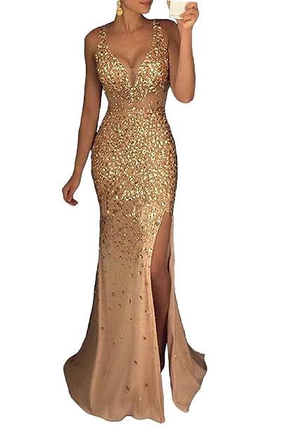 Amazon.com: Pretygirl Vestido largo de encaje para mujer con ...