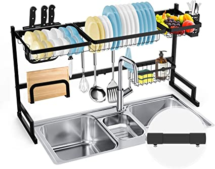 Soledi Over Sink Dish Rack Stainless Steel Dish Drainer Drying And Storage All In One Like