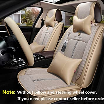 BMW 5 Series Luxury BEIGE//BLACK Leather Look Car Seat Covers Full Set