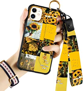 Sunflower iPhone 11 Case with Wrist Strap Kickstand Lanyard Full-Body Shockproof Protective Wrist Band Case for iPhone 11 6.1'' 2019
