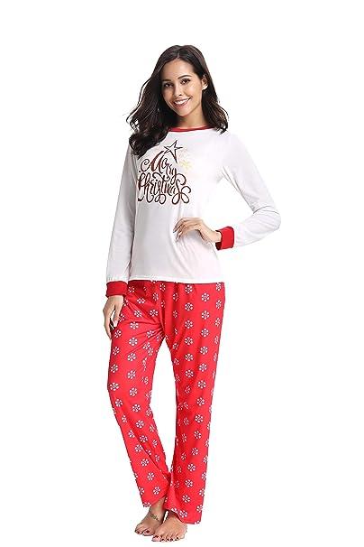Christmas Pj.Amonida Christmas Pajama Set For Women Cotton Sleepwear Long Sleeve Pj Set