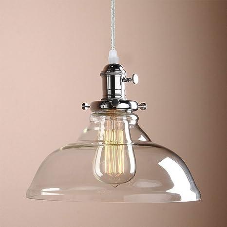 Louvra Lampada a Sospensione in Vetro Vintage Industriale Lampadario Edison  Cromato E27 per Cucina Sala da Pranzo