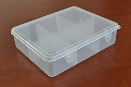 Amazoncom Clear Plastic Storage Box With 6 Compartments Home