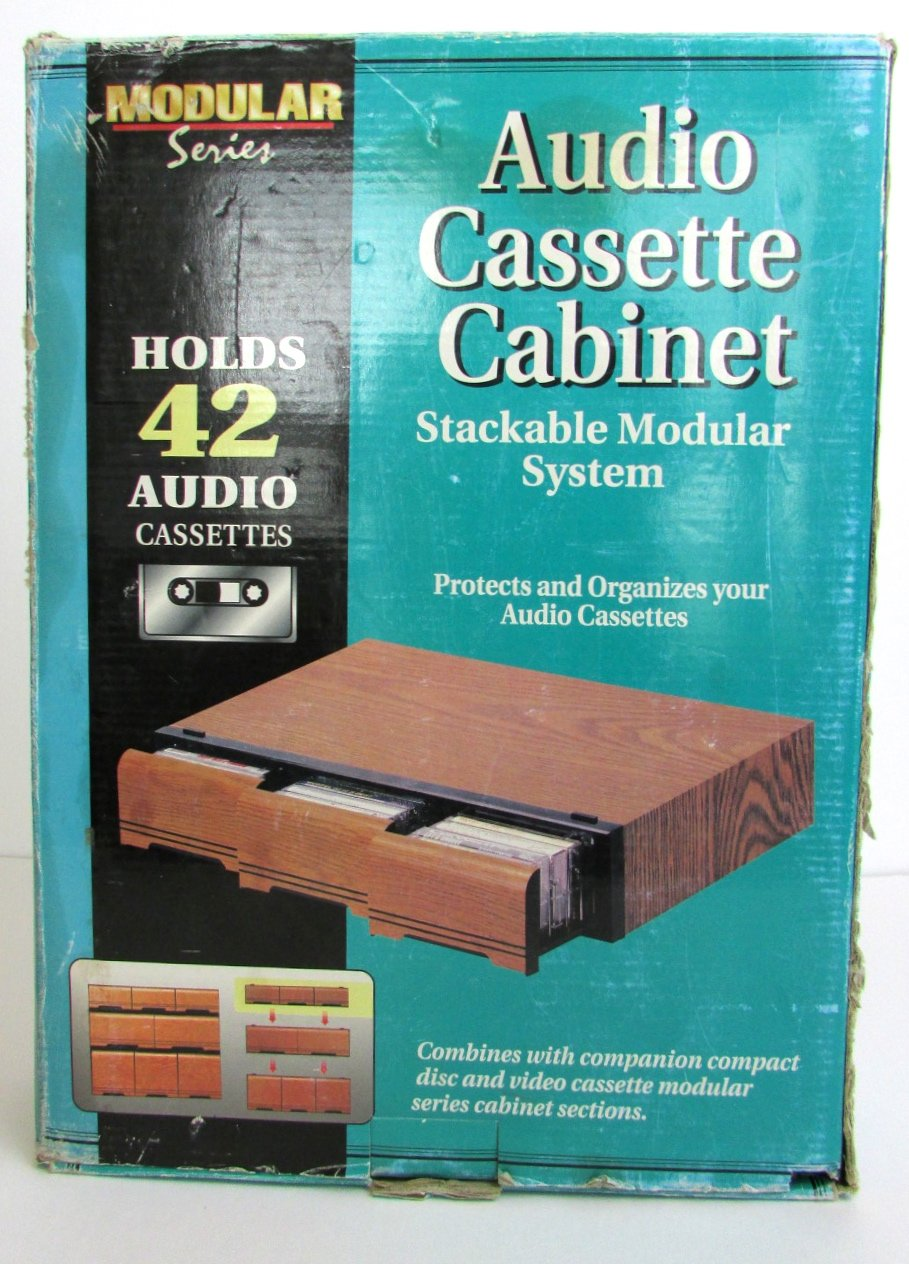 Vintage Modular Series Faux Wood Audio Cassette Storage Drawer Cabinet Holder 42 Tapes by Smart Cabinets