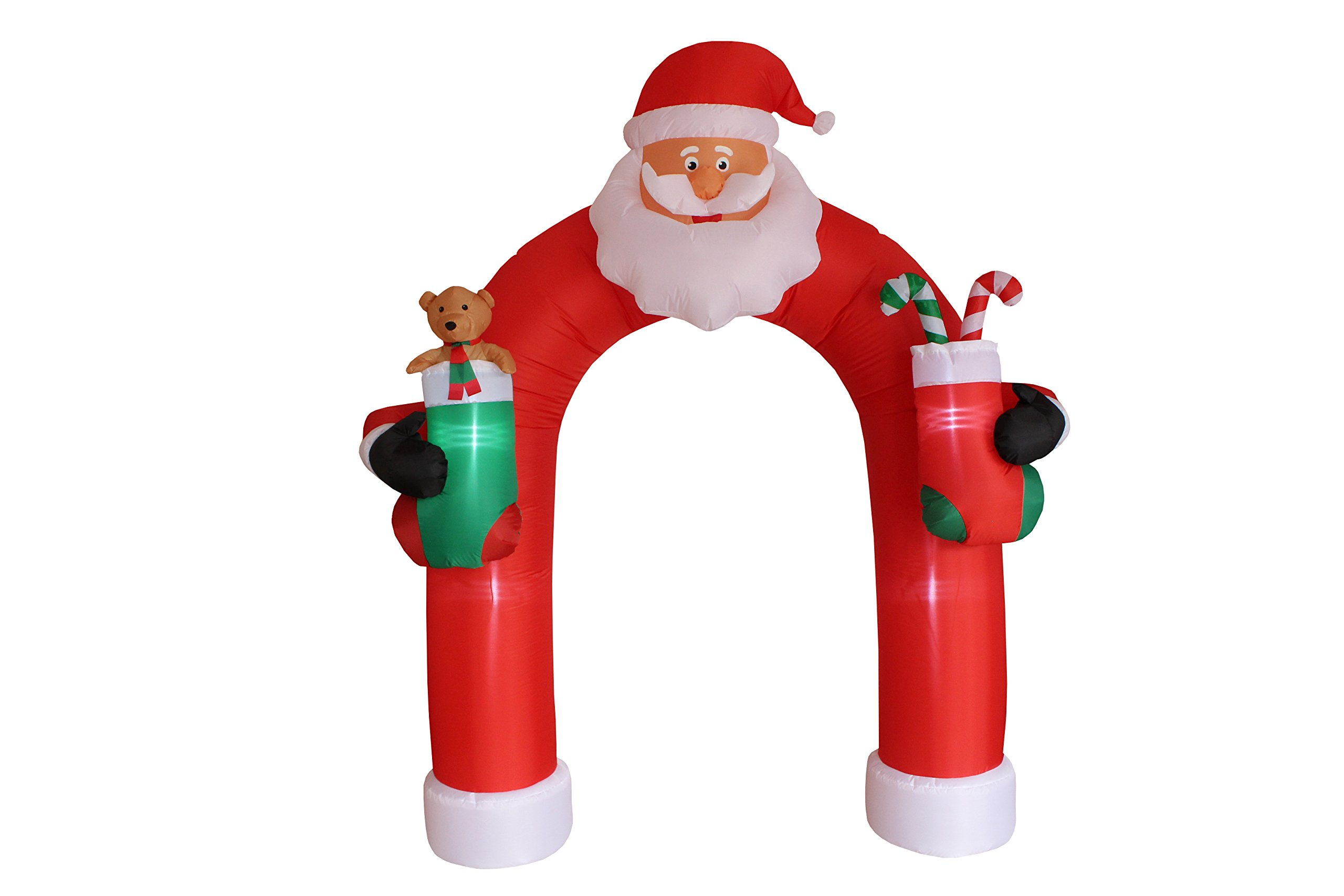 9 Foot Tall Christmas Inflatable Santa Claus Archway Arch with Teddy Bear Sugar Cane Cute Lights Lighted Blowup Party Decoration for Outdoor Indoor Home Garden Family Prop Yard