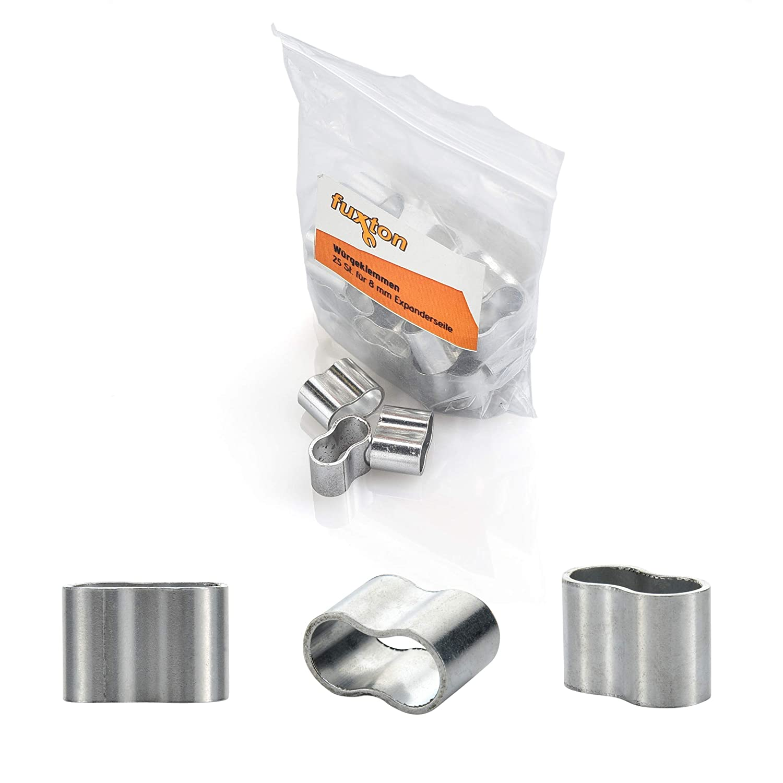 fuxton 25 Stk Profi Seilklemme 8 mm W/ürgeklemmen aus Aluminium f/ür Expanderseil Planenseil rostfrei Gummiseil