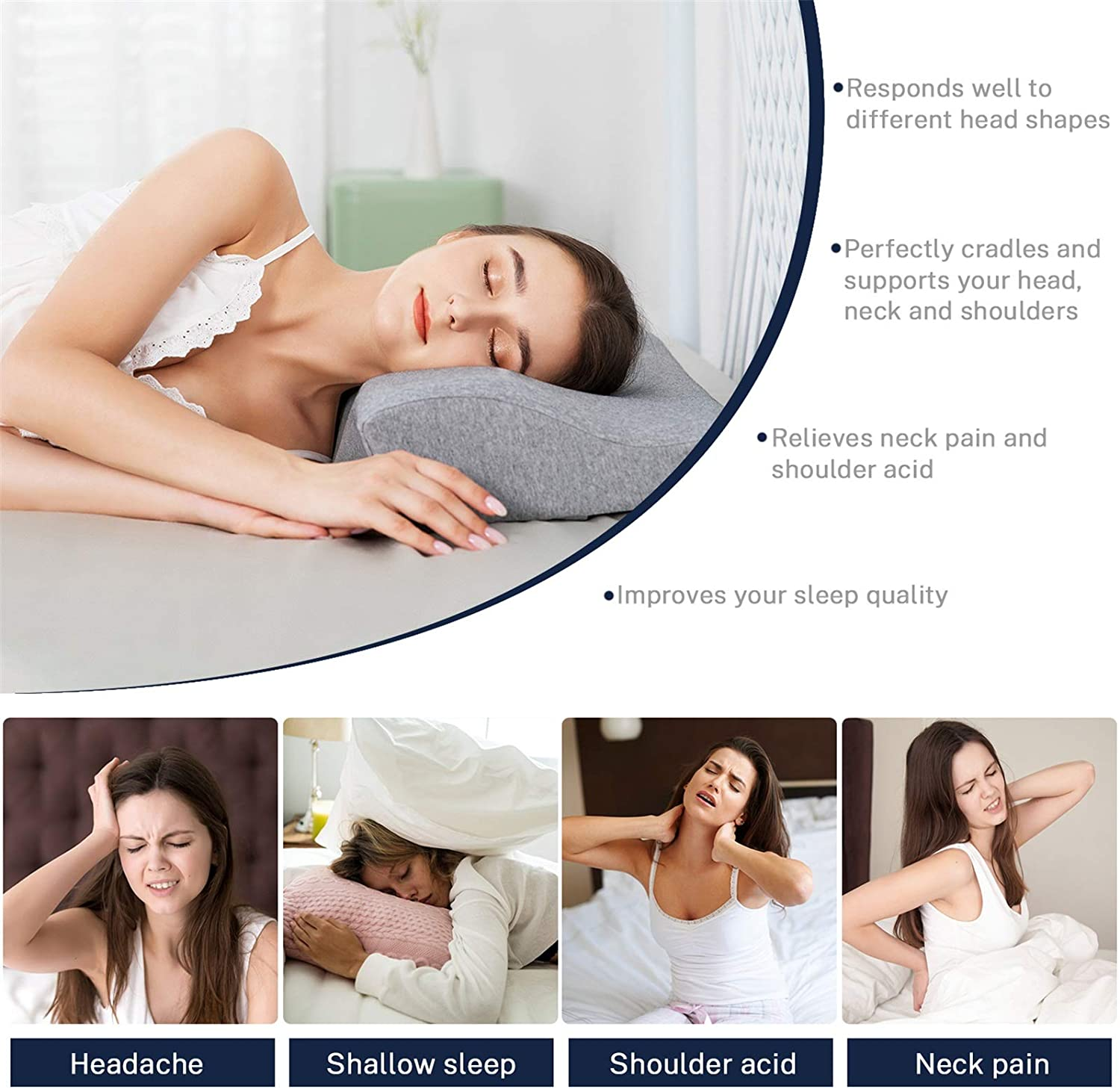 Misiki Cervical Pillow Memory Foam Pillow Orthopedic Pillow for Neck Pain Contour Pillows for Sleeping Ergonomic Neck Support Pillow for Side Sleepers, Back and Stomach Sleepers, Washable Pillowcase: Home & Kitchen