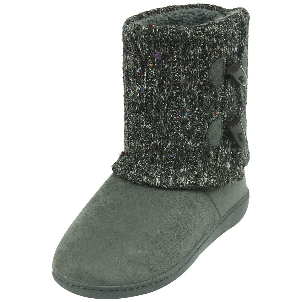 Forfoot Womens House Slippers Comfort Soft Anti-Skid Indoor Slipper Boots Dark Grey US Womens Size 7/8