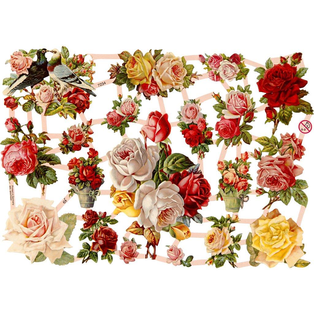 3 Fogli Adesivi di Rose nostalgiche,16,5 x 23,5 cm Creativ