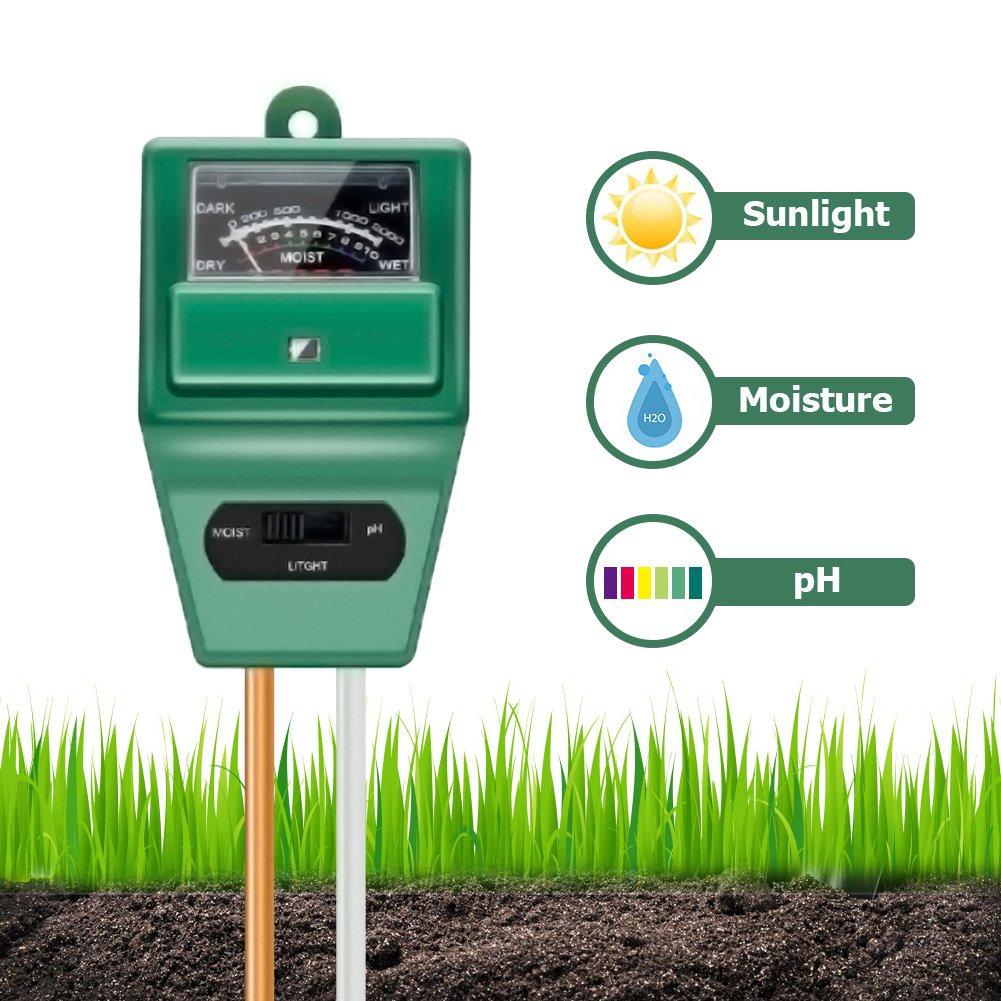 SUNNIOR Soil pH Meter, 3 In 1 Soil Test Kits,Moisture Sensor Meter/Sunlight/pH Tester Gardening Tool Kits for Plant Care, Great for Garden, Lawn, Farm, Indoor/Outdoor (No Battery Needed)
