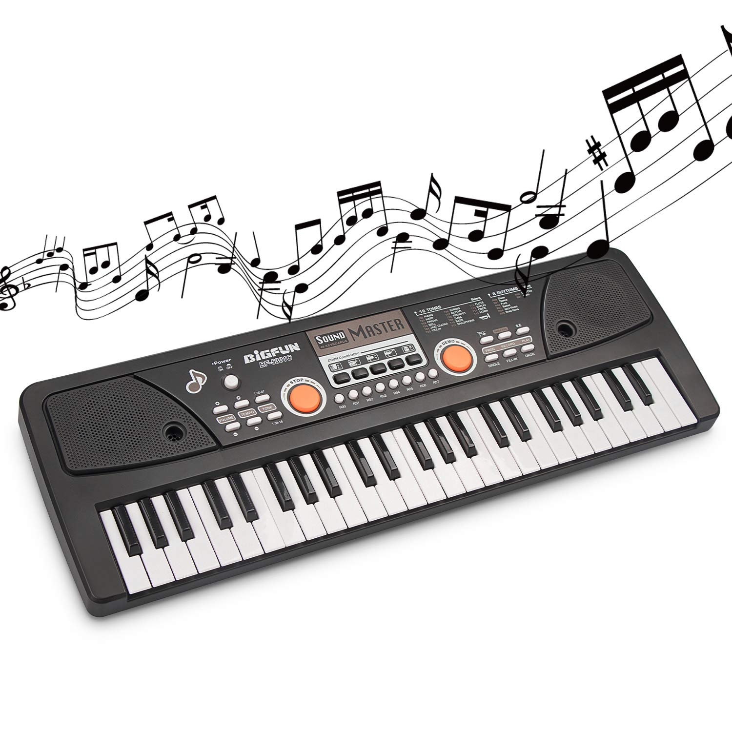 SAOCOOL Piano for Kids , 49 Keys Piano Keyboard Multifunction Electronic Kids Piano with Microphone for Kids Early Learning Educational Toy (Black) by SAOCOOL (Image #6)