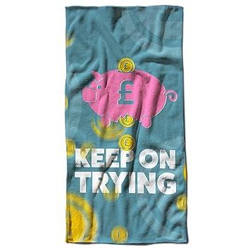 Keep tratando de broma divertida Hucha toalla de playa | Wellcoda, microfibra, multicolor, 50cm x 100cm: Amazon.es: Hogar