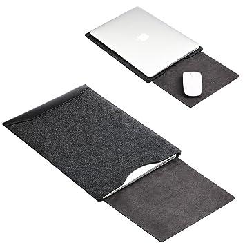 GENORTH®Funda de fieltro y Microfibra PU Resistente al Agua para Apple ordenador portátil Macbook Air y MacBook Pro/Retina 13.3 pulgadas (Negro): ...