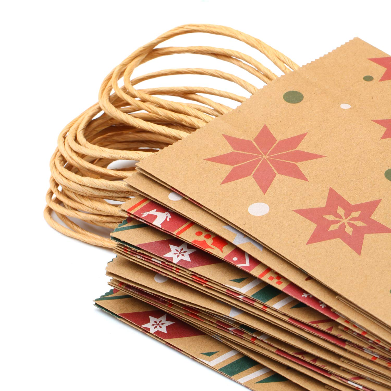 Elcoho 12 Pieces Christmas Kraft Bags Holiday Party Bag Shopping Bags Paper Bags with Handle for Christmas Decorations Color 1