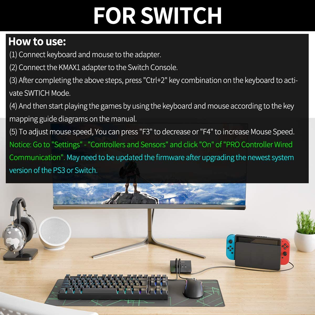 IFYOO KMAX1 Keyboard and Mouse Adapter Converter for Xbox One Switch PS4 PS3 Included USB Sync Cable for Controller