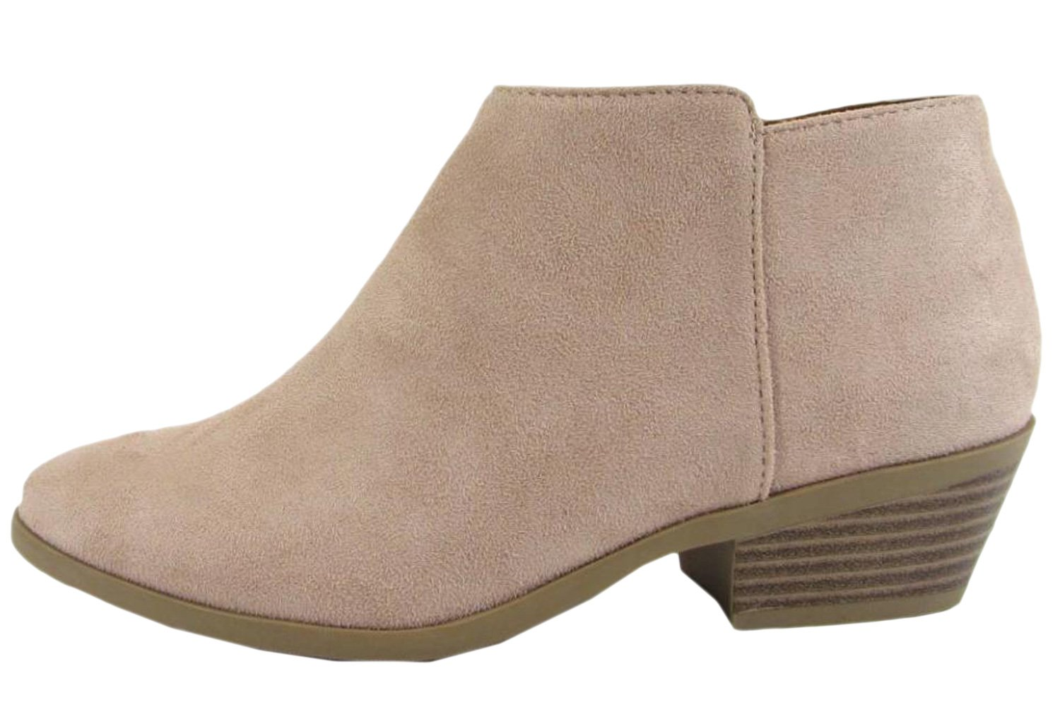 Soda Women's Round Toe Faux Suede Stacked Heel Western Ankle Bootie,7 B(M) US,Dusty Mauve