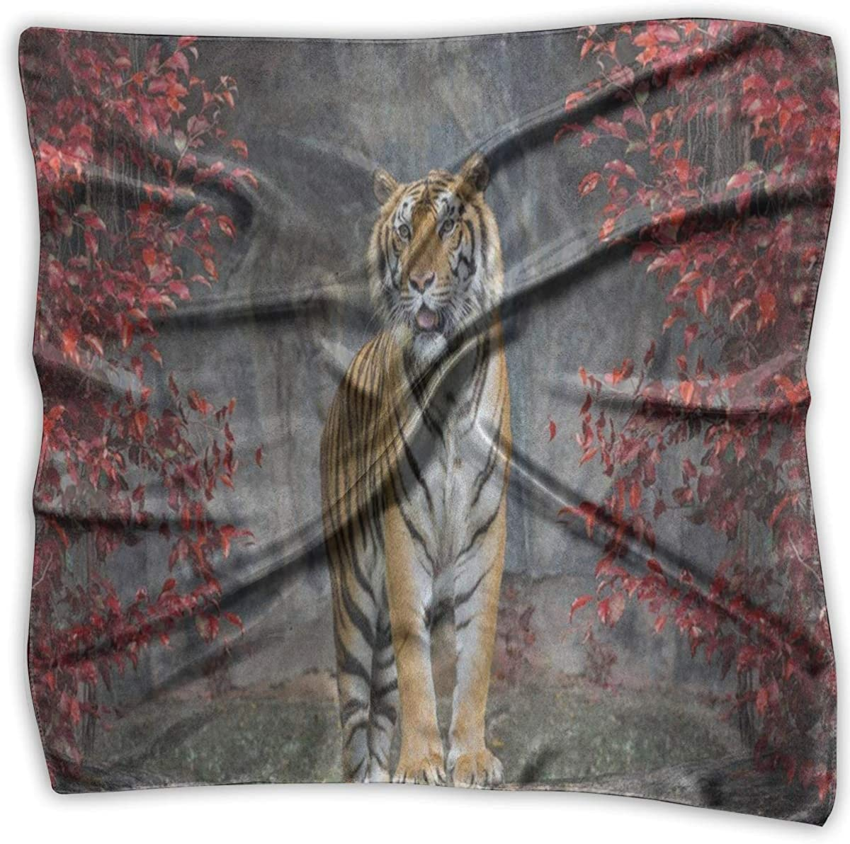 Womens Silk Scarf Blue And Red Fiery Dragon Printed Square Scarf Sunscreen Shawls 23.6 X 23.6