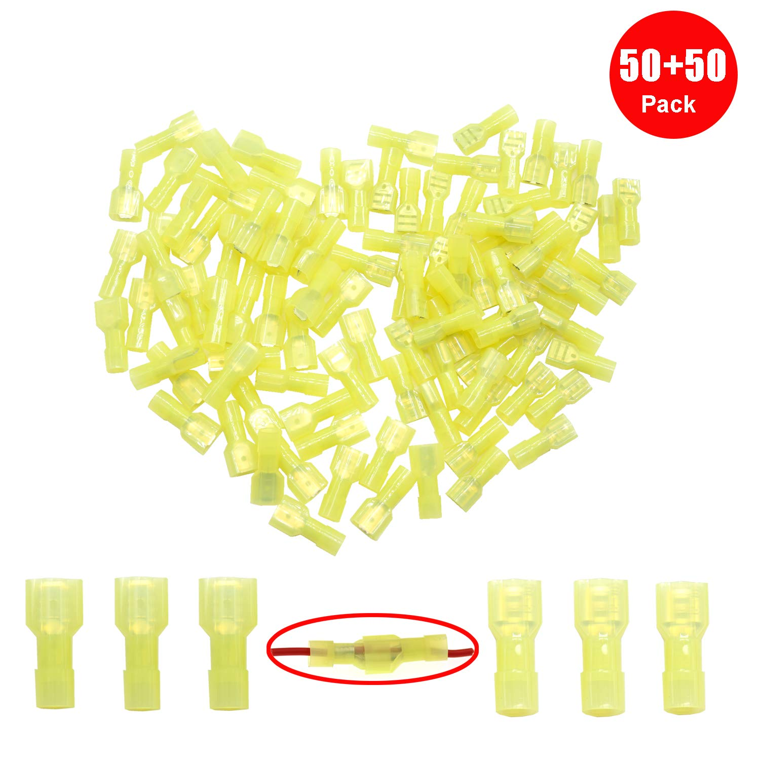 Yosawa 100-Pieces Nylon Fully Insulated Male//Female Spade Wire Crimp Connectors,Quick Disconnects Wire Terminals Connector Assortment Kit AWG 16-14 Yellow(NLGMY