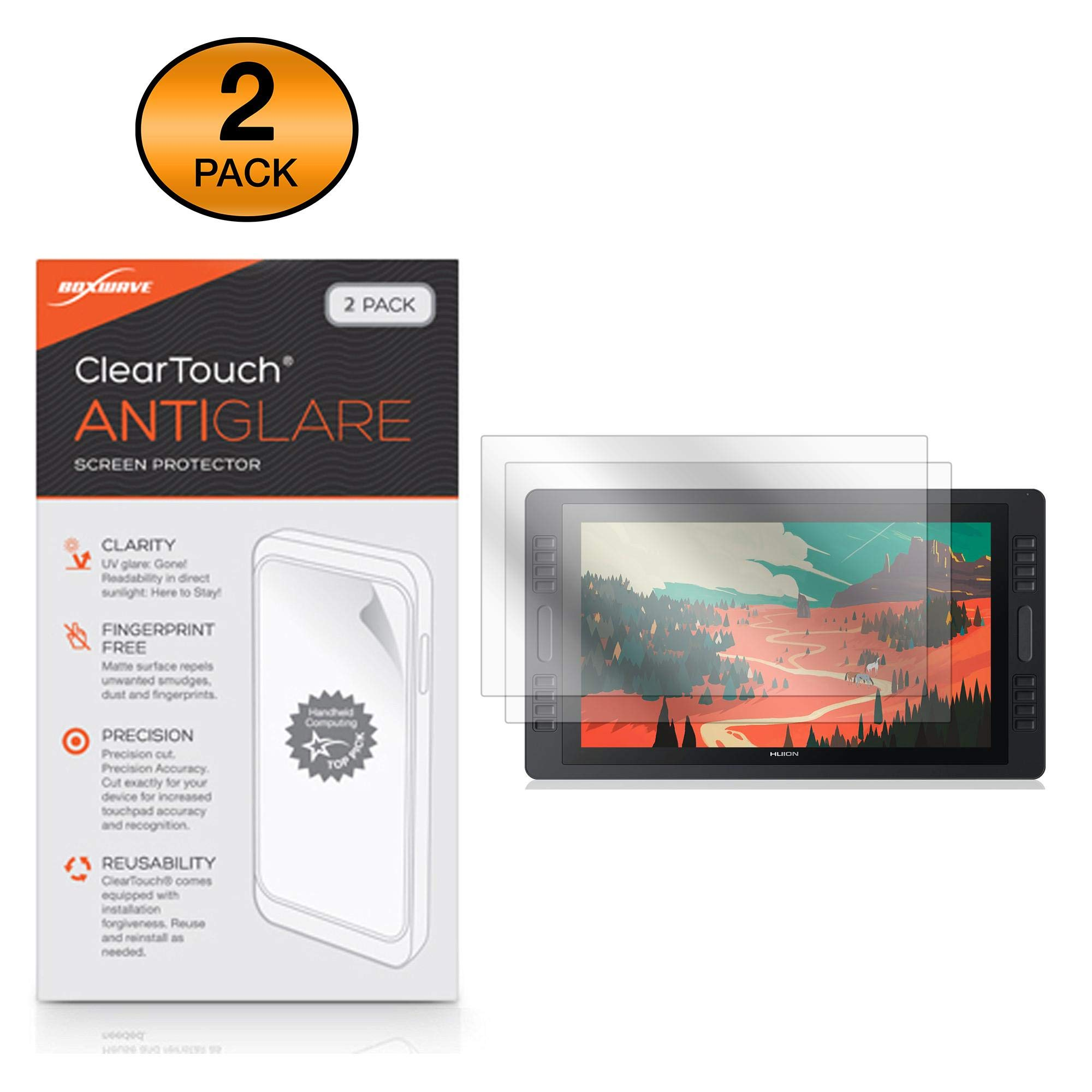 BoxWave Huion KAMVAS PRO 22 Screen Protector, [ClearTouch Anti-Glare (2-Pack)] Anti-Fingerprint Matte Film Skin for Huion KAMVAS PRO 22