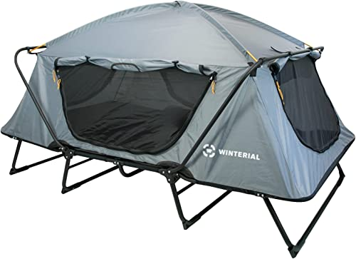 Disc-O-Bed Large Cam-O-Bunk Bunked Double Camping Cot w Organizers, Navy Blue