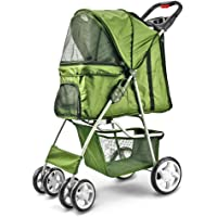 Flexzion Pet Stroller Dog Cat Small Animals Carrier Cage 4 Wheels Folding Flexible Easy Walk for Jogger Jogging Travel Up to 30 Pounds With Rain Cover Cup Holder and Mesh Window
