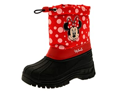Kids Girls Disney Minnie Mouse Tie Top Waterproof Rain Snow Boots Wellies  Wellingtons Wellys Size UK