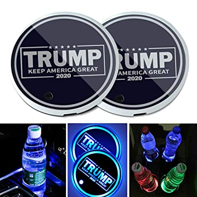 2PCS Universal LED Car Cup Holder Lights, Drinks Coaster Accessories Interior with 7 Colors Changing USB Charging Mat Luminescent Cup Pad, Auto Decoration Atmosphere Lights (Trump Keep America Great): Automotive