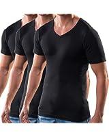HERMKO 16488 3er Pack Herren Business Shirt mit V-Neck aus Baumwolle / Modal