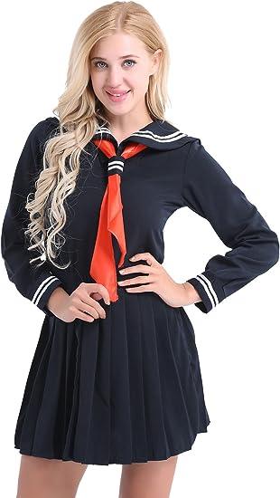 inlzdz Disfraz de Marinera Mujer Cosplay Japones Vestido de Marinera Conjunto Uniformes Escolar Camisa + Falda + Pañuelo Triangular Marino Azul: Amazon.es: Ropa y accesorios