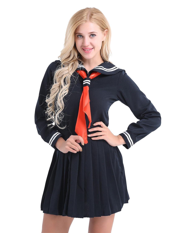 iixpin Damen Japanisch Einheitliche Langarm Schuluniform Sailor uniform Halloween Karneval Cosplay Kostüm S-XXL Dunkel Marine Small WK10046183-10043711-DE