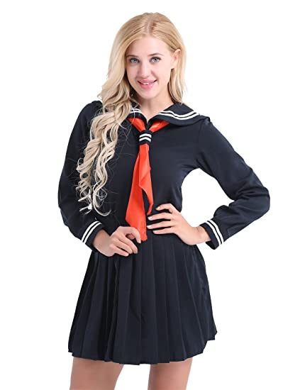 d890b714c Agoky Womens  Sexy Schoolgirl Lingerie Set Japanese Anime Role Play Costume  Sailor School Uniform Outfit