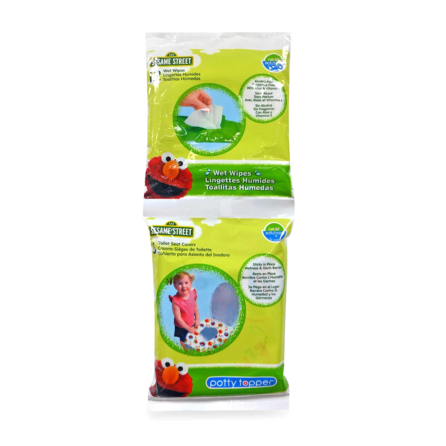 Amazon.com : Sesame Street Potty Combo Pack - 6 Count Potty Topper & 12 Count Wipes : Baby
